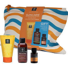 Apivita Suncare Oil Balance SPF30 50 ml & Purifying gel 75 ml & Suncare Hair oil 20 ml